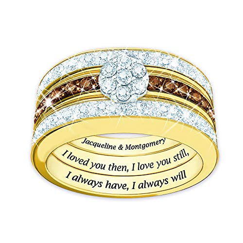 The Danbury Mint I Love You Always Personalized Mocha Diamond Ring Set - Size 8#4792-007 from The Danbury Mint