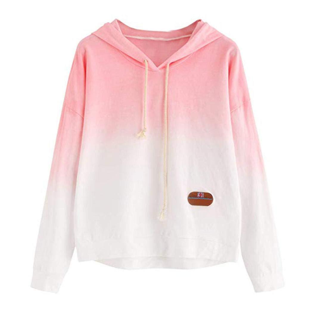 TONSEE Womens Long Sleeve Hoodie Printed Patchwork Sweatshirt Pullover Tops