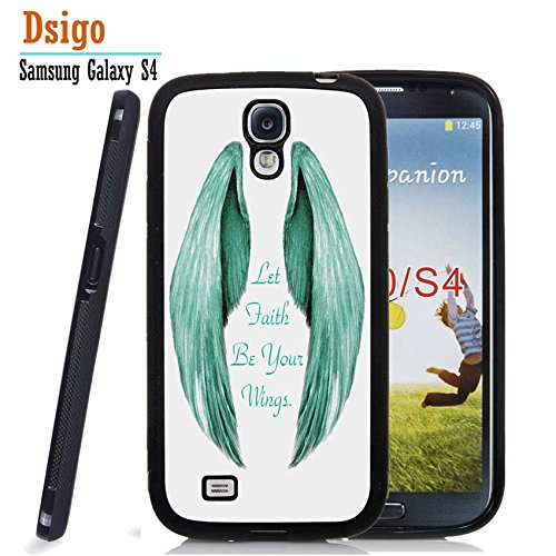Galaxy S4 Case, Samsung S4 Black Case, Dsigo TPU Black Full Cover Protective Case for New Samsung Galaxy S4 - Angel Let Faith be Your Wings. (Koolkase Samsung Galaxy S4 Case)