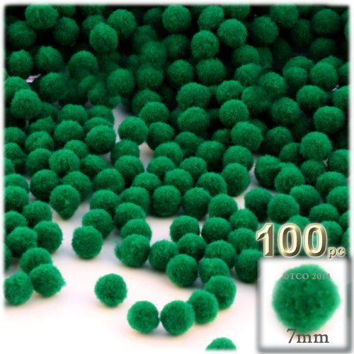 The Crafts Outlet 100-Piece Multi Purpose Pom Poms, Acrylic, 7mm/0.28-inch, Round, Emerald Green