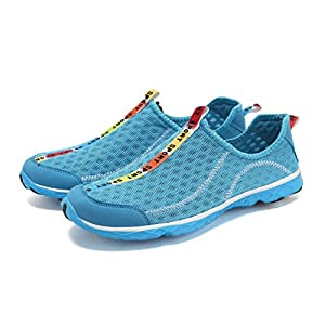 welltree Women's and Men's Quick Drying Breathable Mesh Lightweight Slip On Aqua Water Shoes Blue 7.5 B(M) US/38
