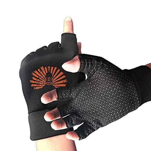 HU MOVR Futurama Bender Gloves for Men and Women, Non-Slip Exercise Sport Workout Half Finger Gloves