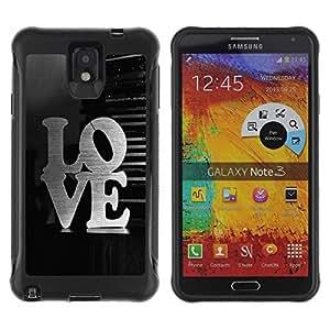 LASTONE PHONE CASE / Suave Silicona Caso Carcasa de Caucho Funda para Samsung Note 3 / LOVE Typography