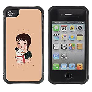 Suave TPU GEL Carcasa Funda Silicona Blando Estuche Caso de protección (para) Apple Iphone 4 / 4S / CECELL Phone case / / Snowman Winter Peach Sweet Holidays /