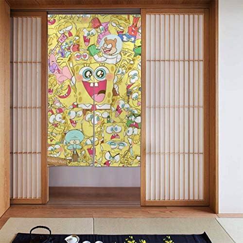 スポンジボブ 網戸 玄関 86 X 143cm 玄関カーテン 取付簡単 ドア/ベランダ/玄関/勝手口