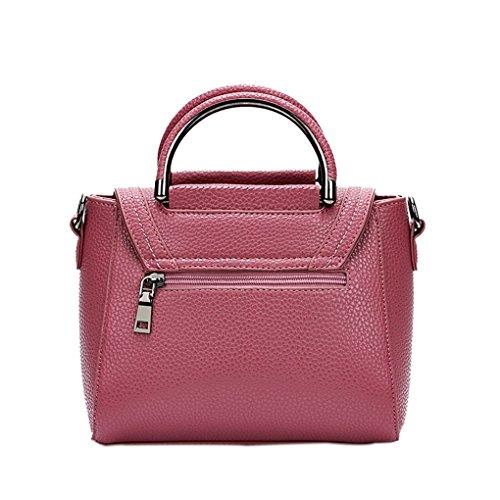 Topker Mujeres Bloqueo Messenger Bag Girl PU Cuero Bolso de hombro sólido Lady Vintage Crossbody Bolsa Retro Simple Pouch