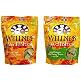 Wellness WellBites Soft & Chewy Treats For Good Dogs 2 Flavor Variety Bundle: (1) Wellness WellBites Turkey & Duck Recipe Soft & Chewy Treats , (1) Wellness WellBites Lamb & Salmon Soft & Chewy Treats, 8 Oz. EA