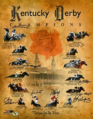 Athlon CTBL-a16425 Angel Cordero Signed Kentucky Derby Champions Churchill Downs Run for The Roses Horse Racing Photo 8 Signatures - 16 x 20