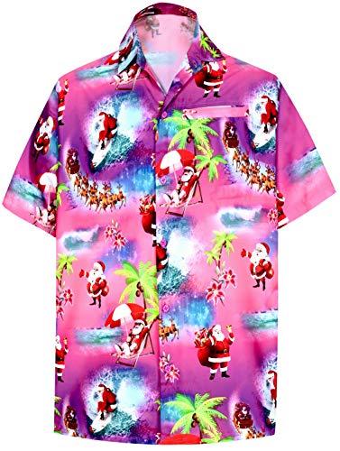 HAPPY BAY Santa Claus Tree Jingle Bell Button Down Hawaii Christmas Shirts Men