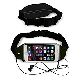 Theoutlettablet® Cinturón - Riñonera deportivo para running - correr - impermeable al sudor y Reflectante con bolsillo para transporte Smartphone Lava Pixel V2 COLOR NEGRO (S)