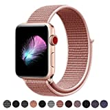 Yunsea For Apple Watch Band, New Nylon Sport Loop, with Hook and Loop Fastener, Adjustable Closure Wrist Strap, Replacement Band for iwatch, 38mm, Rose Pink