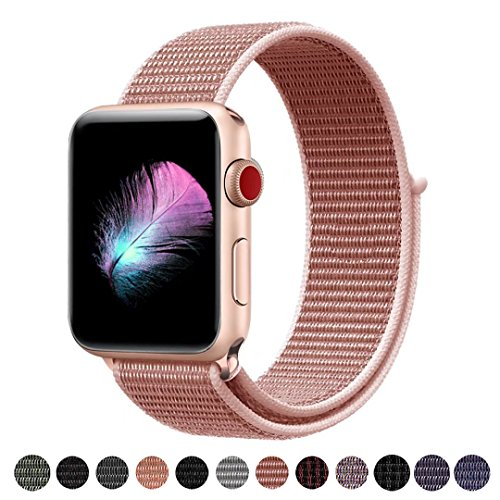 Yunsea Compatible for Apple Watch Band 38mm, New Nylon Sport Loop, with Hook and Loop Fastener, Adjustable Closure Wrist Strap, Replacement Band Compatible for iwatch, 38mm, Rose Pink