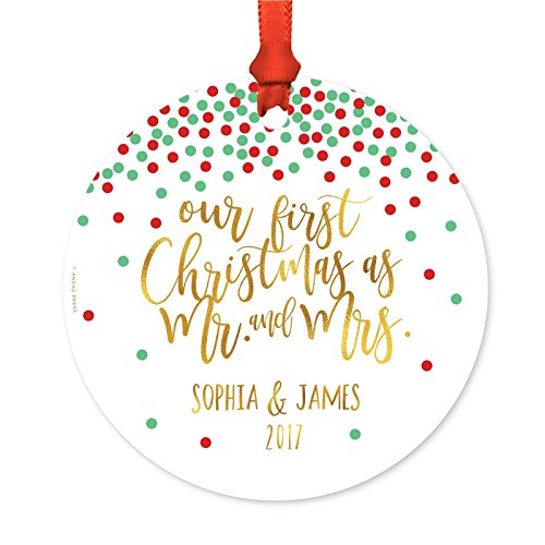 Andaz Press Personalized Wedding Metal Christmas Ornament, Our First Christmas As Mr. and Mrs. 2019, Red Green and Gold Glittering Confetti Polka Dots, 1-Pack, Includes Ribbon and Gift Bag, Custom