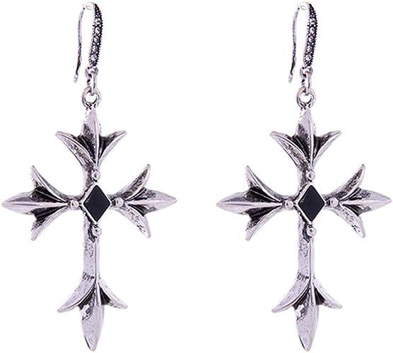 Black gem cross earrings