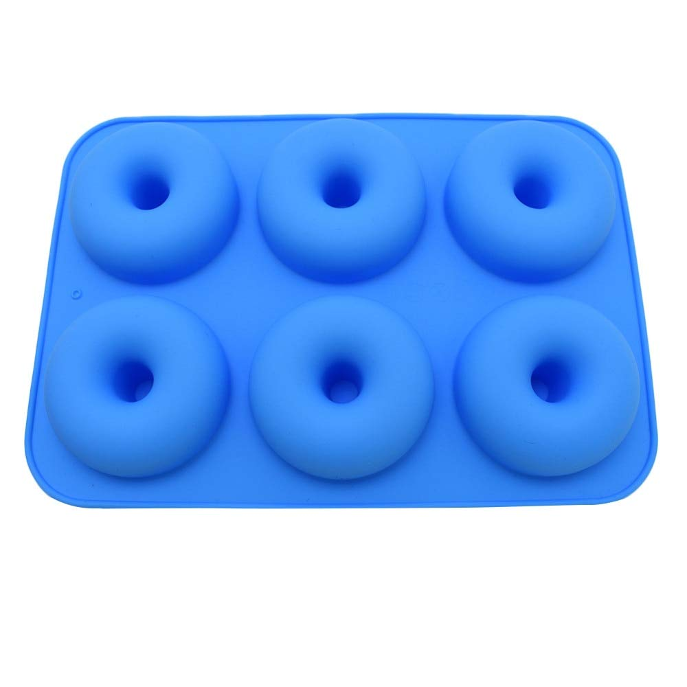 1 piece 6-Cavity Silicone Donut Baking Pan Non-Stick Donut Mold Safe Baking Tray Maker for Cake Biscuit Bagels Muffins 6 Colors L4