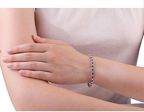 Eternity Blue and White Sapphire Silver Tennis Bracelet (WHITE GOLD)