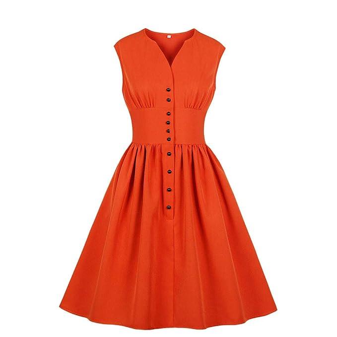 Proumy Vestidos Plisada Retro Orange Verano Mujer Ropa de ...