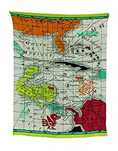 Cotton Beach Towels Colorful World Map Print King Size Beach Towel For Two 54 X 70 Inch. 54 X 70 X 0.25 Inches White Model # 16811830