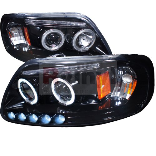 (Ford F-150 1997 1998 1999 2000 2001 2002 2003 Halo Projector Headlights - Smoke)