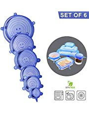 DIRECT FROM FACTORY Silicone Stretch Lids, 6 Pack – BPA Free, Food Storage Container Cover for Bowl, Mugs, Pots, Cans, Cups, Jar – Reusable Food Hugger, Durable, Expandable to Fit Most Sizes & Shapes