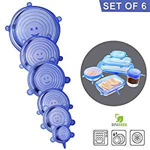 Silicone Stretch Lids, 6 Pack – Food Storage Container Cover for Bowl, Mugs, Pots, Cans, Cups, Jar – Reusable Food Hugger Wrap – Durable & Expandable to Fit Most Sizes & Shapes, BPA Free Lid Silicone