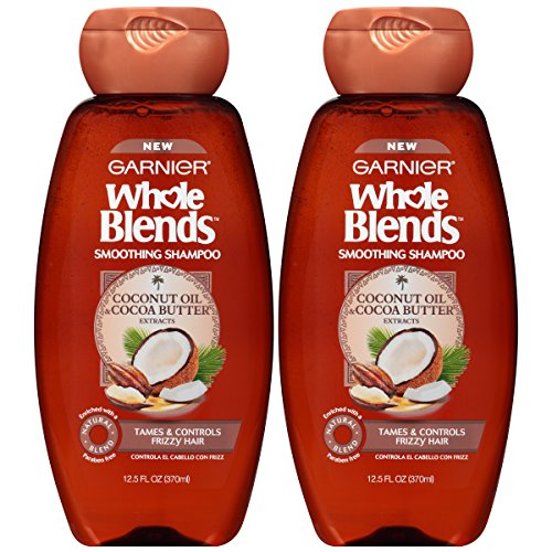 Garnier Whole Blends Smoothing Shampoo with Coconut Oil & Cocoa Butter Extracts, 12.5 Fluid Ounce (Packaging May Vary), 2 Count