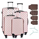 "4 Pcs Luggage Sets Suitcase Sets Spinner Wheel Hardshell Lightweight Luggage 18"" 20"" 24"" 28"" with Covers and Hangers"