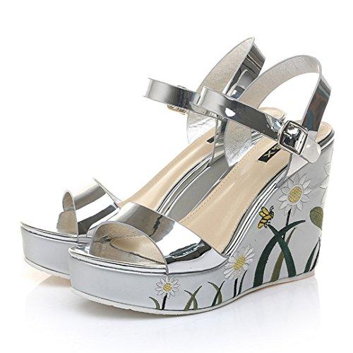 Platform Peep Toe Wedge Sandals MAC Strap Open Buckle Sandal Silver Women's Silver Summer U Y1S84qw