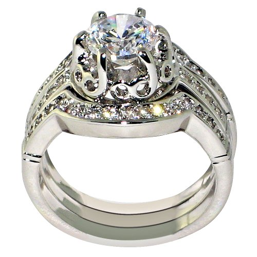 Heirloom Antique 1.85 Ct. Cubic Zirconia Cz Bridal Engagement Wedding 3 Piece Ring Set (7)