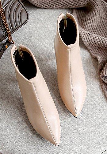 Aisun Stilettos White Casual Zipper Pointy Women's Booties Toe Off xxTaC6f