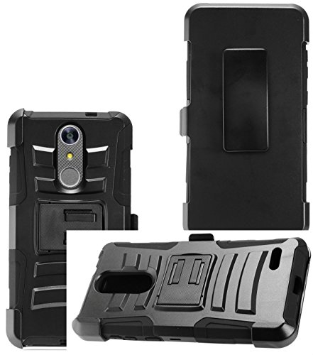 2Layer Rugged Rubber Case Cover w/Holster Belt Clip for ZTE Grand X4 / Blade Spark Phone (Black on Black) (Faceplate Clip Phone Cover Case)
