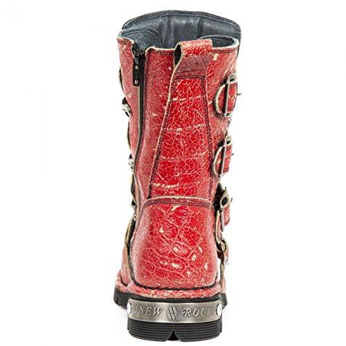 Nuovo Rock Fatto A Mano M 1473 C42 Rot Stiefel Unisex