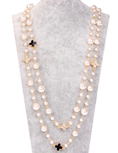 MISASHA Gold Plated Faux Pearl Chain Pearl Necklace - Chanel Pearl Necklace