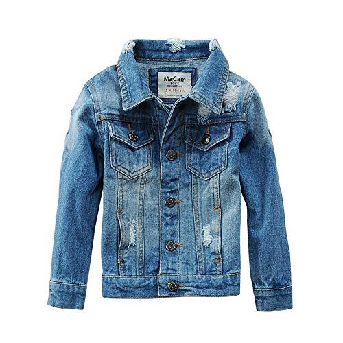 SITENG Boys Kids Denim Fall Ripped Jean Jacket Coat Outwear with Hole 100% Cotton ()