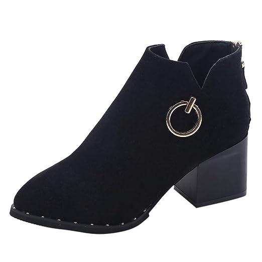 f68f3cb6a4a03 Amazon.com: Hunzed Women Shoes Women's Round Head with Back Zipper ...