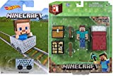 MineCart Hot Wheels with Overworld Survival Pack Steve Figure Core Player Pack Series 1 with game gear items set Minecraft Car Compatible with Minecraft Characters