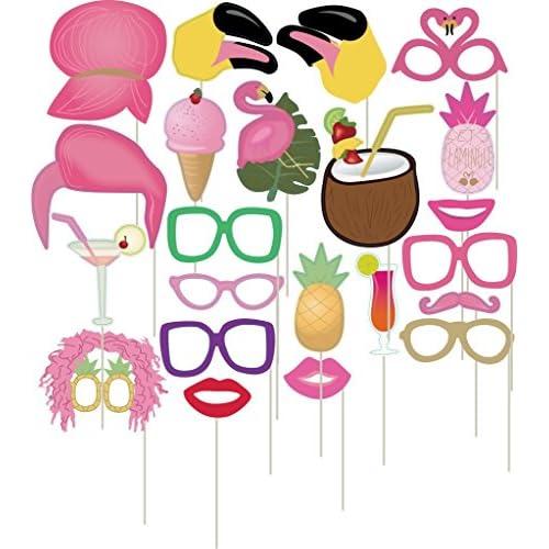Veewon Flamingo photomaton Tropical hawaïen Style Soirée Jeux photobooth dragées Hen Party Dress Up Accessoires, 22pièces