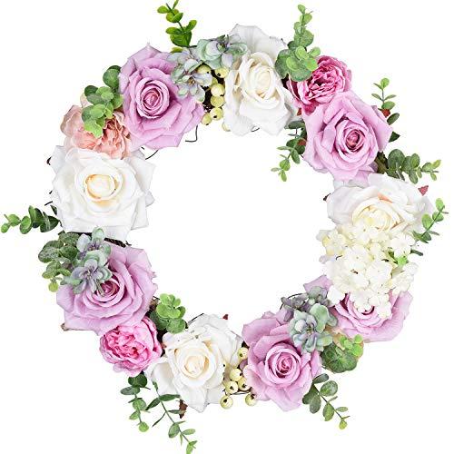 TINGOR Artificial Rose Flower Wreath, 14'' Eucalyptus Leaf Door Wreath Decor Fake Rose Outdoor Wreath for Front Door, Wall, Wedding, Home Décor (Purple & -