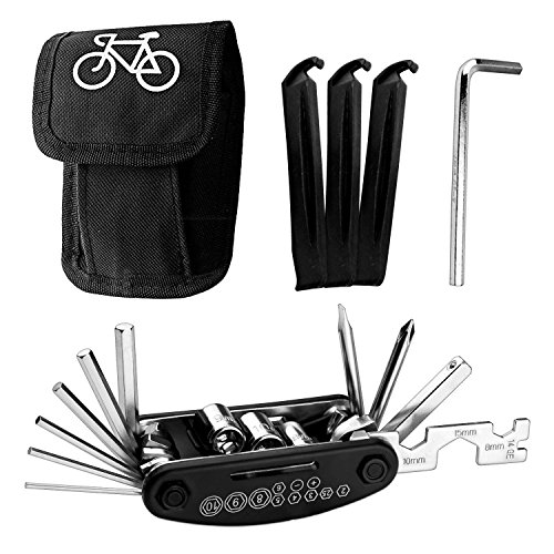 Listenman 16 in 1 Multi-Function Bike Bicycle Cycling Mechanic Repair Tool Kit & 3 pcs Tire Pry Bars Rods
