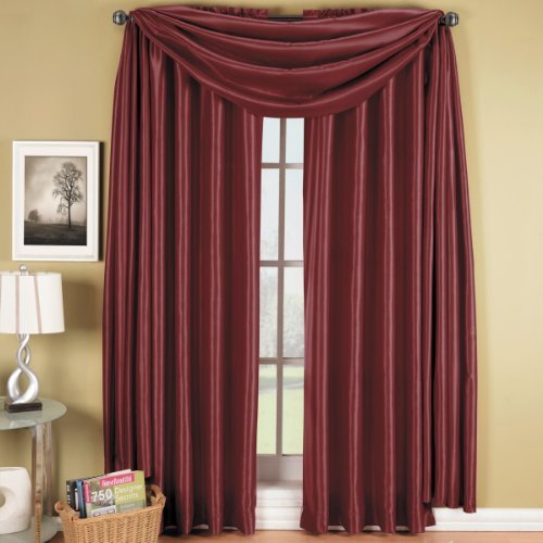 Luxury Soho Burgundy Rod Pocket Window Curtain Drape, Solid Pattern, 42×96 inches, by Royal Hotel