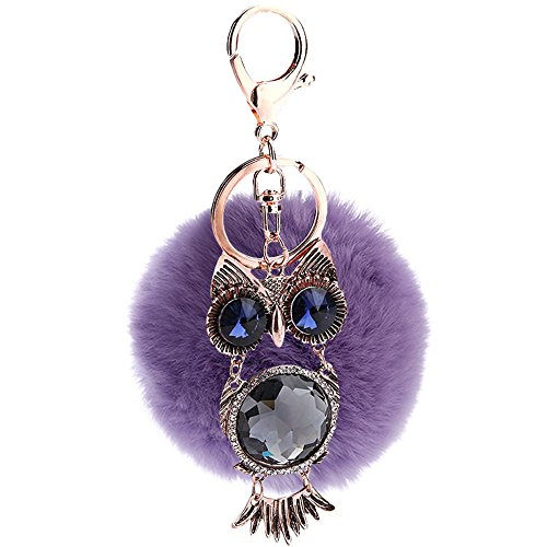 Purse Charm Diamond (CHOP MALL Plush Pompom Ball Diamond Belly Owl Crystal Pendant Charm Keychain Accessory for Women Girls Handbag Purse Car Cell Phone Luggage Keyrings (Light Purple))