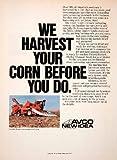 1980 Ad AVCO New Idea Uni Seed Corn Harvesting System Farming Equipment Machines - Original Print Ad