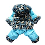 Luxury Leopard For Dog Clothes Dog Coat Warm Faux Fur Dog Jumpsuit Pant Free Shipping,Blue,#12, My Pet Supplies