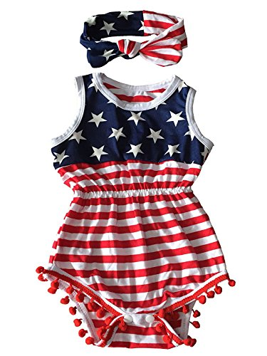 ly Romper Toddler Baby Girls American Flag Tassel Outfits With Headband (Flag, 6-12 Months) ()