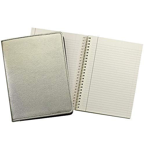 Wire-O-Notebook 9in Metallic White-Gold Fine Leather by Graphic Image™ - 7x9