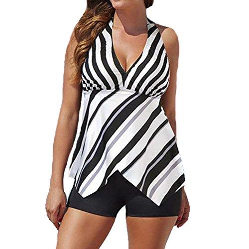 Zhhlinyuan Fashion Stripe Two-Piece Bikini Set Women's Boyleg Swimwear SG16122 Black&White