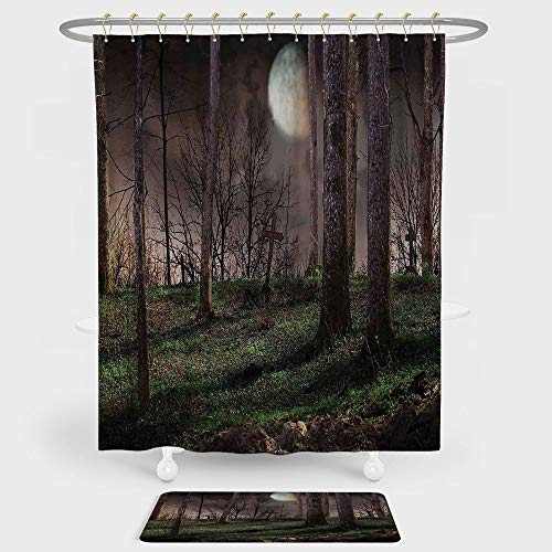 iPrint Gothic Shower Curtain And Floor Mat Combination Set Dark Night in the Forest with Full Moon Horror Theme Grunge Style Halloween For decoration and daily use Brown Green Yellow ()