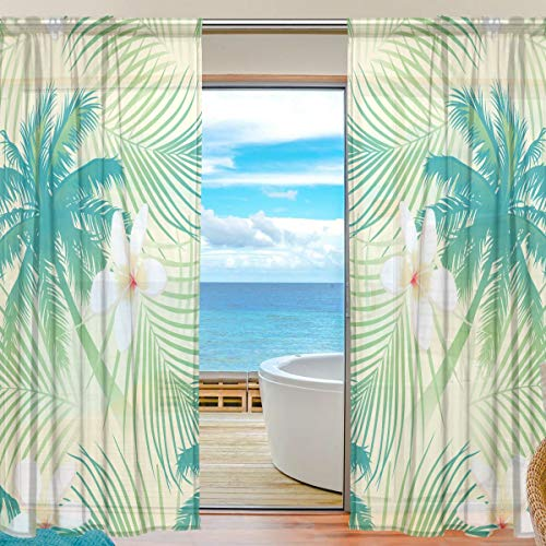 AHOMY Sheer Curtain Tropical Palm Tree Leaf Polyester Voile Window Curtain Panels Vertical Sheer Drapes 55x84 inch,Set of 2