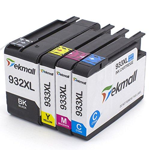 932XL 933XL Ink Cartridges 1 Set, Tekmall Compatible HP 932 933 Ink Compatible with HP Officejet 6600 Officejet 6700 7612 6100 7610 7110 7510 7512 Printers (1 Black, 1 Cyan,1 Magenta, 1 Yellow) by Tekmall