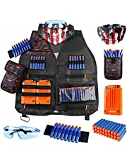 Fistech Kids Tactical Vest Kit for Nerf Guns N-Strike Elite Series with Refill Darts Dart Pouch, Reload Clip Tactical Mask Wrist Band and Protective Glasses